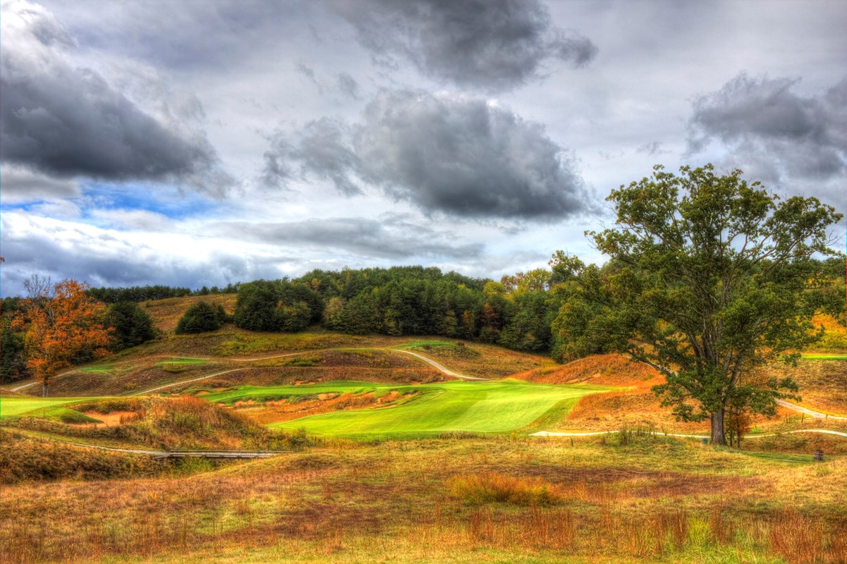 From the fairway looking up at #15 green. Second shot usually in the 250 yard range...do not go left!
